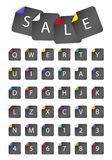 Letters on paper stickers. Set of letters on paper stickers Royalty Free Stock Images