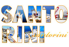 Letters with photos of Santorini island Stock Image