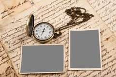 Letters pictures and watch Royalty Free Stock Photography