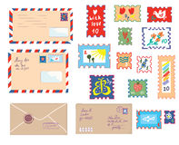 Letters and post stamps funny set Stock Images