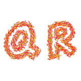 The letters Q, R made of autumn leaves Stock Photo