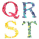 The letters Q, R, S, T  made of buttons Royalty Free Stock Image