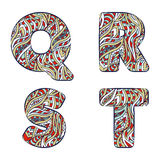 Letters Q, R, S, T. Set colorful alphabet of doodles patterns. Stock Images