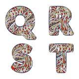 Letters Q, R, S, T. Set colorful alphabet of doodles patterns. Stock Images