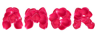 Letters from rose petals Royalty Free Stock Photography
