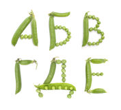 Letters of russian alphabet with green peas, abc Royalty Free Stock Photography