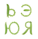 Letters of russian alphabet with green peas, abc Stock Photo