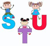 Letters S T and U. Alphabet letters S T and U in blue lilac and red colors Royalty Free Stock Photo