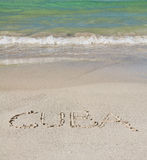 Letters on the sand in Cuba Royalty Free Stock Photography