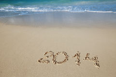 2014 letters on sand, ocean , beach and seascape Royalty Free Stock Photos