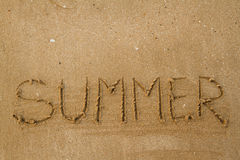 The letters on the sand summer. Background royalty free stock images