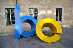 Letters sculpture named Les letres toves in Girona, Spain Stock Photo
