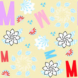Letters seamless floral pattern. It is located in swatch menu, v. Letters seamless floral pattern. It is located in swatch menu,  vivid illustration vector Stock Photos