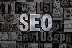 Letterpress SEO. The letters SEO made from old metal letterpress - Search Engine Optimization stock photography