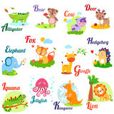 Letters set. Cute animal alphabet for ABC book. Vector illustration of cartoon animals Royalty Free Stock Photography