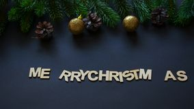 Letters spelling Merry Christmas and Frohe Weihnachten stock video footage