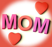 Letters Spelling Mom With Hearts As Symbol for Cel Royalty Free Stock Image