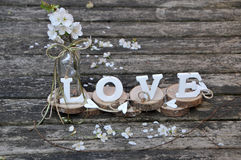 Letters spelling out the word love. Wooden letters spelling out the word love, outdoor image Stock Images