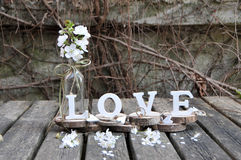 Letters spelling out the word love. Wooden letters spelling out the word love, outdoor image Stock Photos