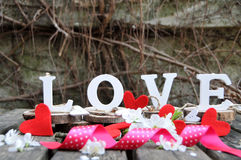 Letters spelling out the word love. Wooden letters spelling out the word love, outdoor image Stock Photography