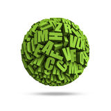 Letters sphere. 3D render of sphere formed by letters Royalty Free Stock Photography
