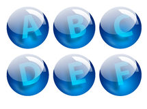 Letters spheres. Blue letters spheres Stock Photography