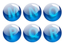 Letters spheres. Blue letters spheres Stock Images