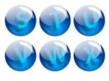 Letters spheres. Blue letters spheres Royalty Free Stock Photo