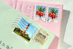 Letters and Stamps Royalty Free Stock Photography