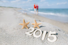 2015 letters with starfish, ocean , beach and seascape Royalty Free Stock Image
