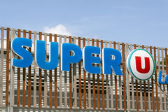 Letters Super U on a supermarket in Paris Royalty Free Stock Photo