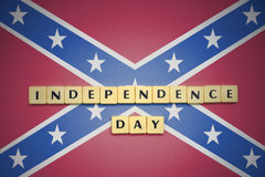 Letters with text independence day on the confederate flag . Concept Stock Photo
