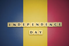 Letters with text independence day on the national flag of chad. Royalty Free Stock Image