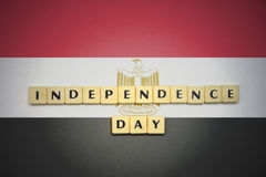 Letters with text independence day on the national flag of egypt . Royalty Free Stock Image