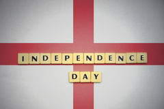 Letters with text independence day on the national flag of england. Royalty Free Stock Photo