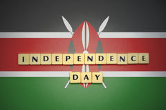 Letters with text independence day on the national flag of kenya. Concept royalty free stock images