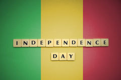 Letters with text independence day on the national flag of mali. Stock Photography