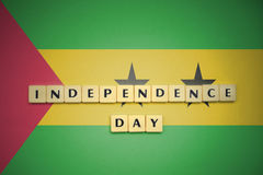Letters with text independence day on the national flag of sao tome and principe. Concept Stock Photo