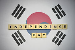 Letters with text independence day on the national flag of south korea. Concept royalty free stock image