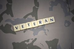 Letters with text veteran on the khaki background. military concept stock photo