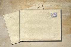 Letters to send. Two old letters on a rustic background Royalty Free Stock Photo