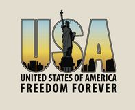 Letters USA with the image of Statue of Liberty Stock Photos