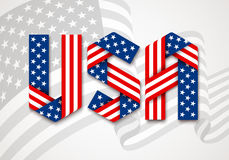 Letters USA made of interlaced ribbons with American flag`s stars and stripes. USA. United States of America Graphic Logo. Letters made of interlaced ribbons Royalty Free Stock Image