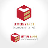 Letters V and E, cube and line. Vector illustration Stock Photography
