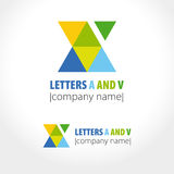 Letters A and V, triangles. Vector illustration Royalty Free Stock Image