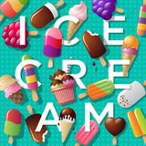 Ice cream illustration. Summer background with ice cream and letters. Letters and a variety of ice-cream on azure background. Summer background with ice cream Royalty Free Stock Photo