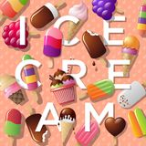 Ice cream illustration. Summer background with ice cream and letters. Letters and a variety of ice-cream on pink background. Summer background with ice cream Royalty Free Stock Images