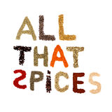 Letters from various spices isolated on white Stock Photography
