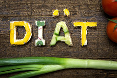 Letters of vegetable canapes build the word diät Stock Image