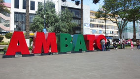Letters in volume forming the word AMBATO in the Pedro Fermin Cevallos Park in the downtown of the city Royalty Free Stock Image
